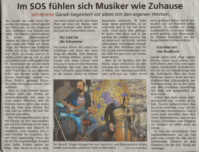 """Auftritt am 20.Dezember 2019 im Künstleratelier von Andrew Ward """"School of Seeing"""" in Wehrheim mit dem frankfurter Percussionisten Nirjan Fröhlich (unten rechts Bild vergrößern)"""